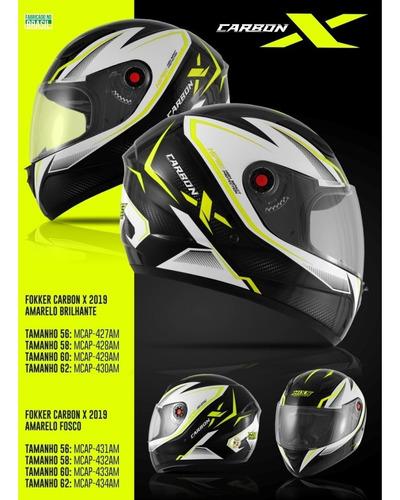 capacete moto mixs fokker carbon x fosco ou brilhante 2019