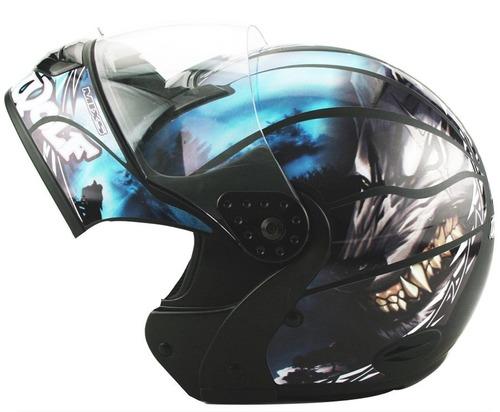capacete moto mixs gladiator wolf lobo robocop articulado