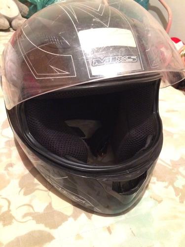 capacete moto mixs prata e preto feminino / masculino usado