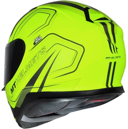 capacete moto mt thunder 3 trace amarelo fosco +touca brinde