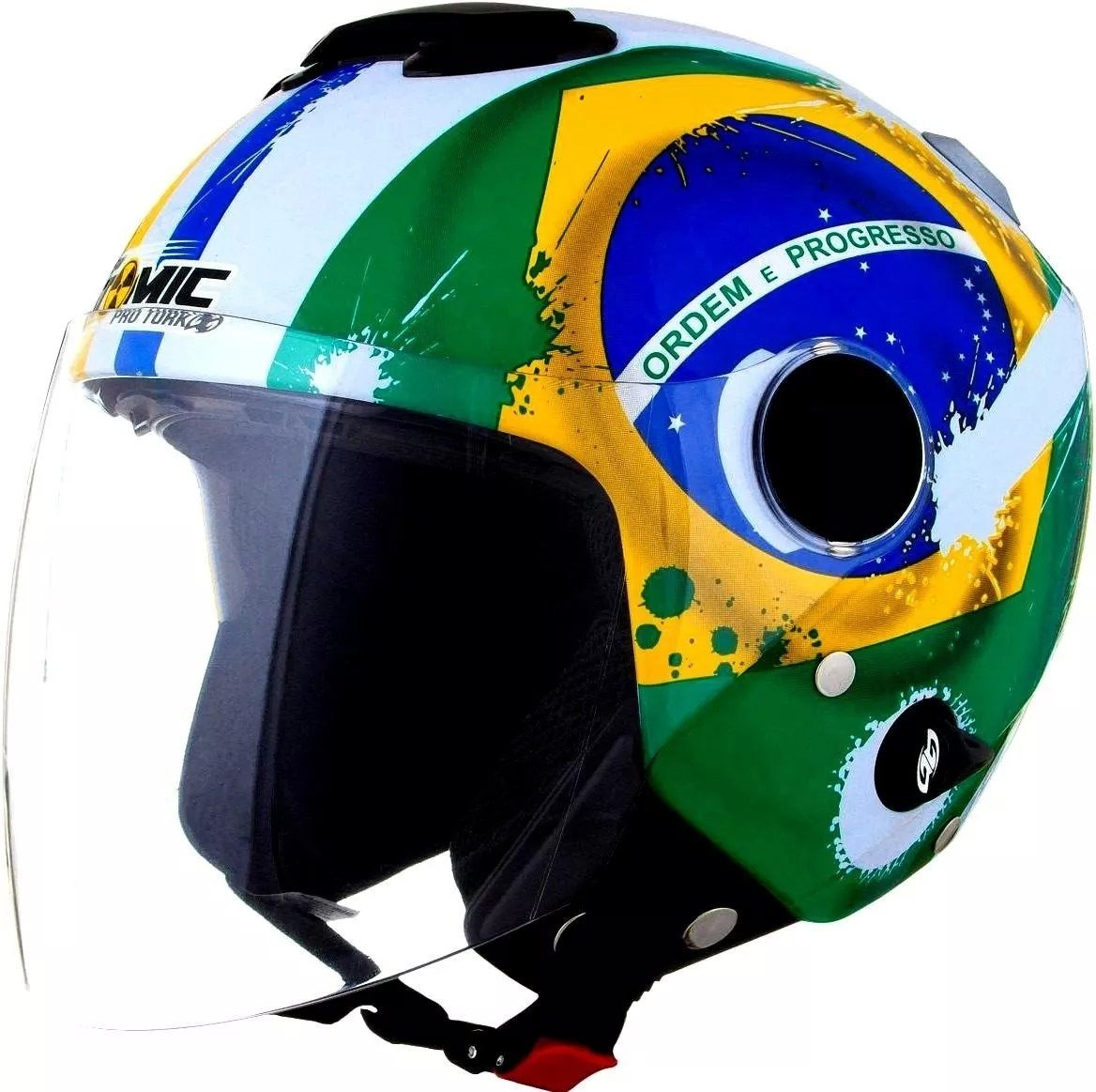 capacete moto new atomic bandeira do brasil pro tork. Carregando zoom. a09da34bb1b