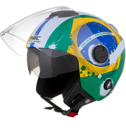 capacete moto new atomic bandeira do brasil pro tork oferta