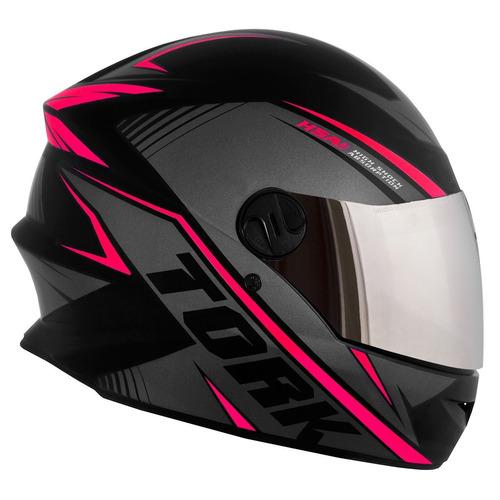 capacete moto p/ mulher fechado rosa r8 viseira espelhada