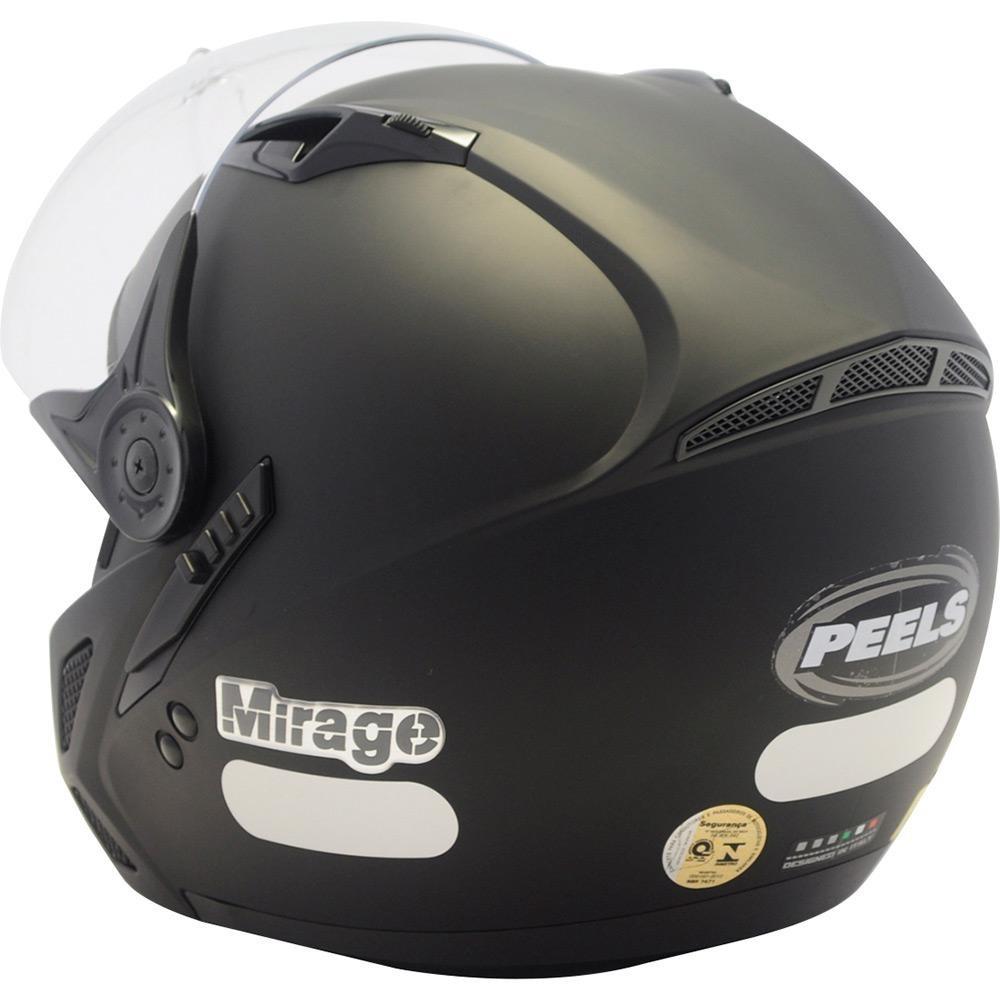 6666d2e5bc1f7 Capacete Moto Peels Mirage New Classic Preto Fosco Italiano - R  264 ...