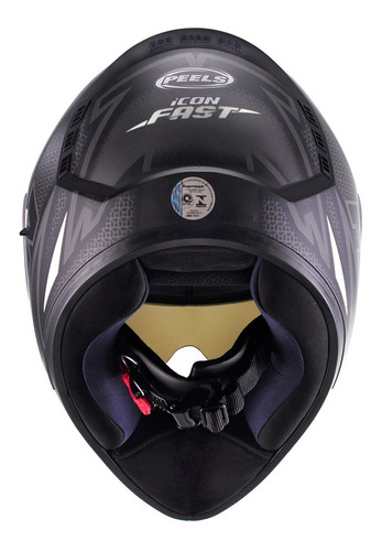 capacete moto peels icon fast com óculos interno + nf