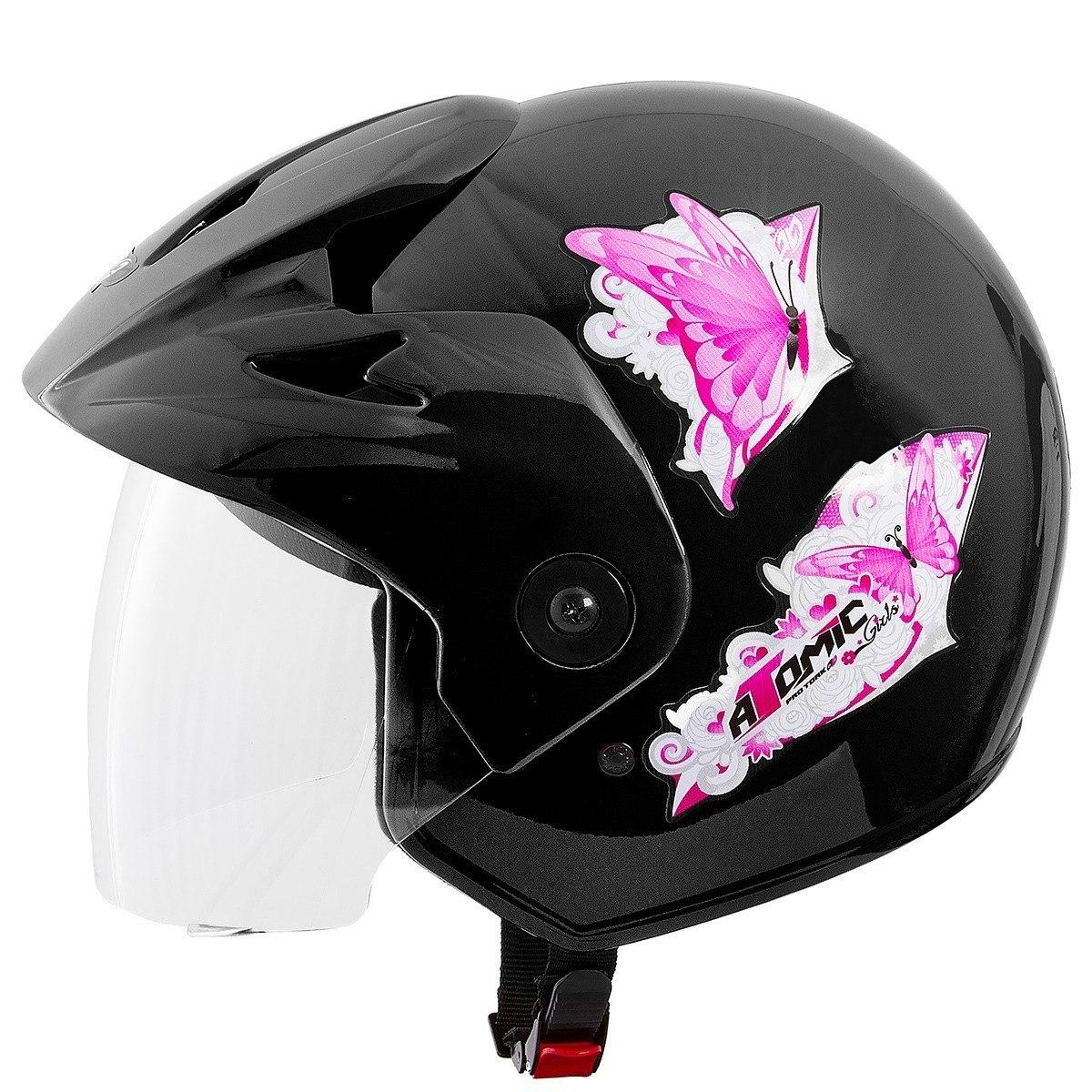 Capacete Moto Pro Tork 417 Atomic For Girls Preto Tm 58 - R  49 f82f6d68231