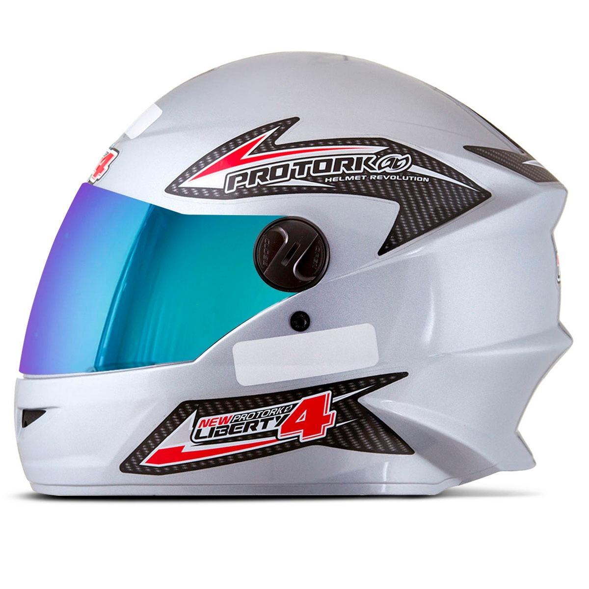 capacete moto viseira camaleão protork new liberty 4 prata. Carregando zoom. f660d9a27d
