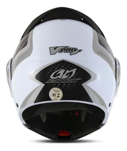 capacete moto vpro jet2 escamotiavel carbon branco acessorio