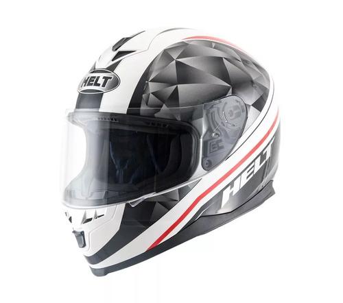 capacete motociclista helt new race carbo white preto branco