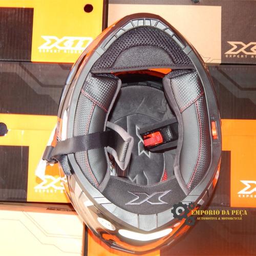 capacete motociclista x11 impulse wing cinza c/ óculos moto