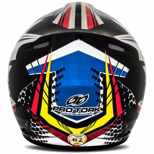 capacete motocross pro tork race bike trilha enduro branco