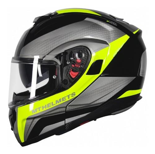 capacete mt atom tarmac brilho articulado com viseira solar