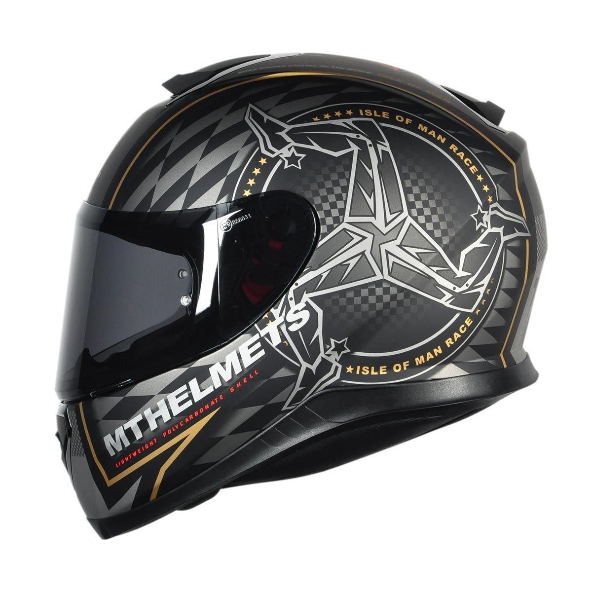 83bb42103 capacete mt helmets thunder 3 isle of man matt black/gold. Carregando zoom.