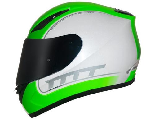 capacete mt revenge binomy white-red-green + balaclava