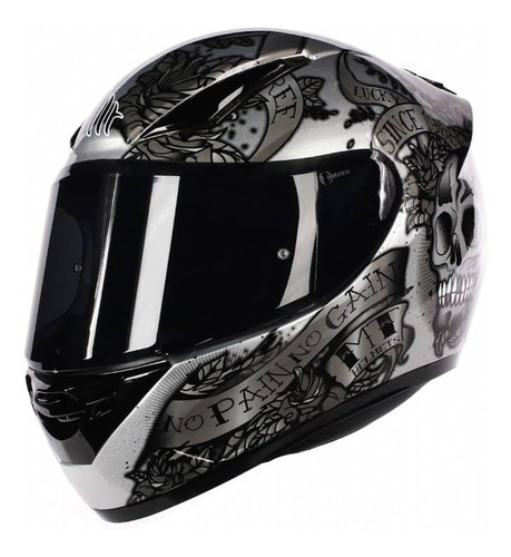 capacete mt revenge skull & rose cinza novo 2018 + brinde