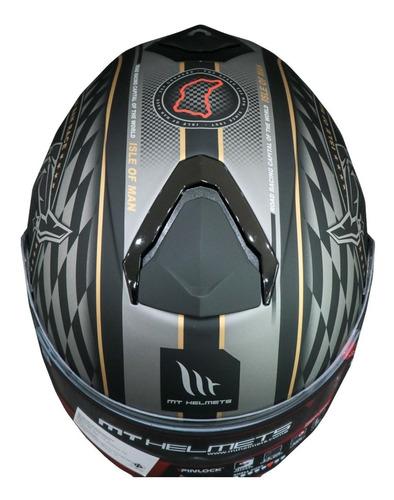 capacete mt thunder 3 ilha de man fosco/dourado