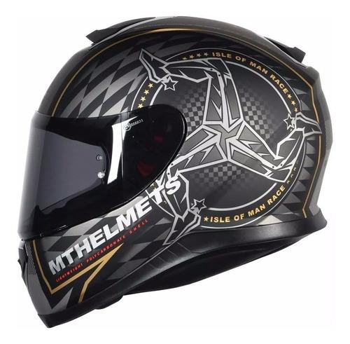capacete mt thunder 3 ilha man isle of man + touca de brinde