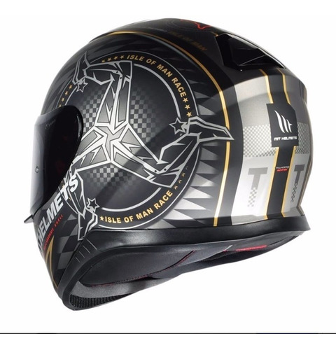 capacete mt thunder 3 ilha man isle of man + touca de brinde