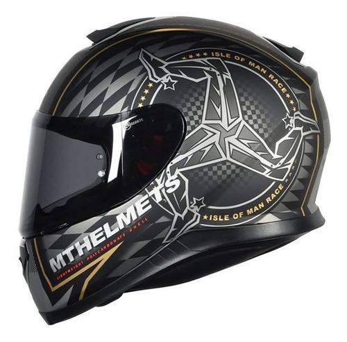 capacete mt thunder 3 isle of man preto/dourado fosco