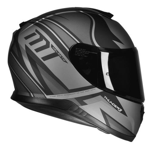capacete mt thunder 3 storke preto cinza fosco