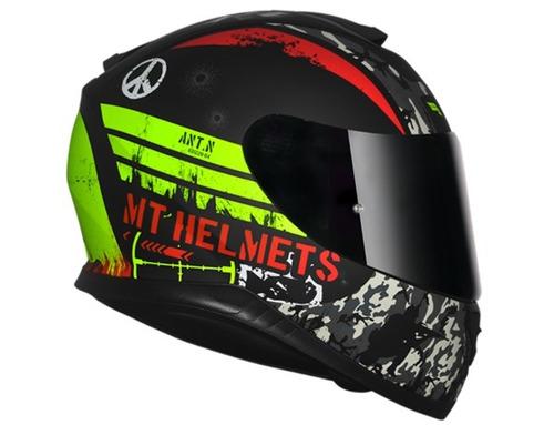 capacete mt thunder3 - sniper matt black-yellow+ balaclava