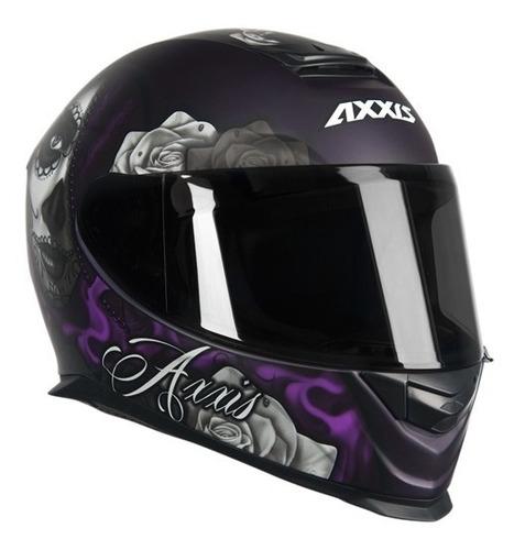 capacete mt/axxis eagle lady catrina preto/violeta 57-58