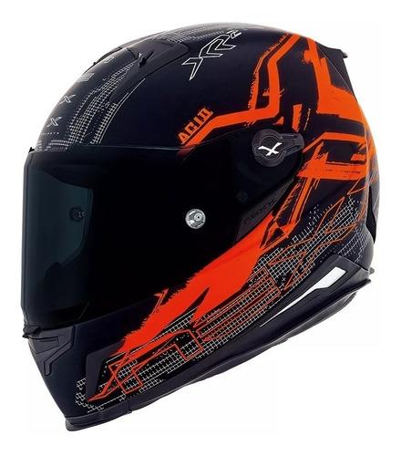 capacete nexx xr2 acid laranja tri composto + viseira prata