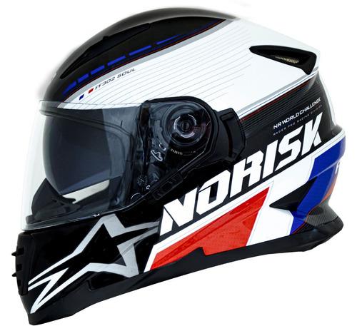 capacete norisk ff302 grand prix frança com viseira solar