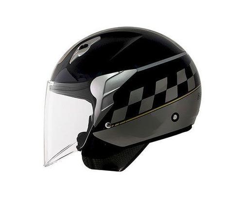 capacete norisk jet college -  aberto - preto cinza