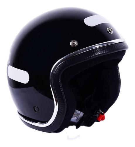 capacete old school vintage aberto preto brilhante
