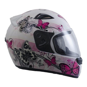 Capacete Para Moto Integral Ebf Capacetes New Spark Borboleta Branco/rosa  S