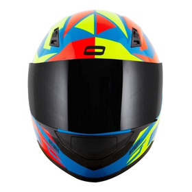 Capacete Para Moto Integral Norisk Ff391 Cutting Light Blue, Yellow, Red Tamanho 58