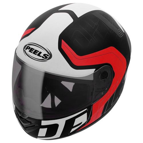 capacete peels spike ghost preto/verm.+viseira fume brinde