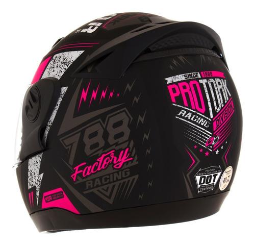 capacete pro tork feminino evolution g6 factory racing rosa