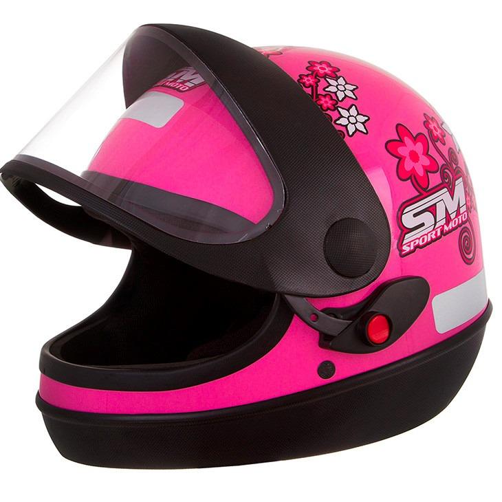 6a205a797955d Capacete Pro Tork Sport Moto Fechado Feminino Rosa + Touca - R  143 ...