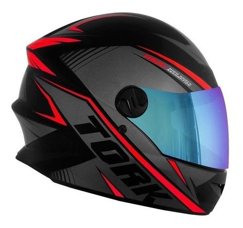 capacete protork r8 viseira camaleão + cristal + touca rede