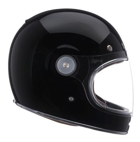 capacete retro bell bullitt solid black old school café race