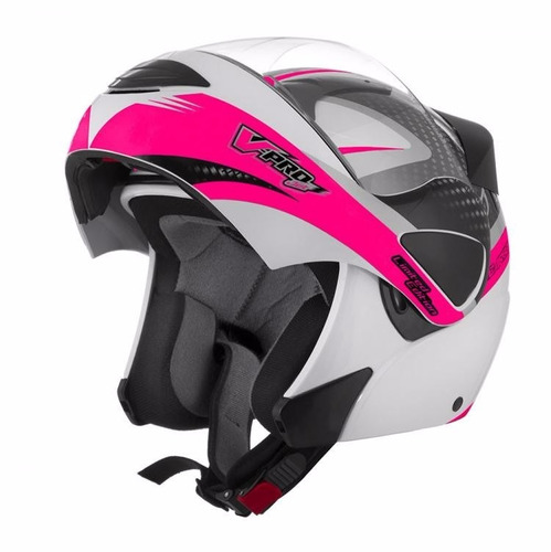 capacete robocop tork v-pro jet 2 carbon branco rosa fem