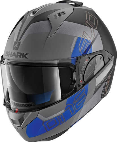 capacete shark evo one 2 slasher cinza/azul/preto
