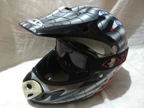 capacete sky helmets 4trakker / com óculos cross ims racing