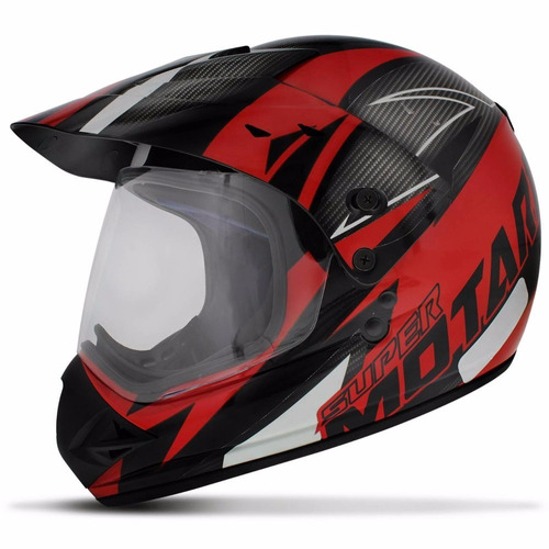 capacete trilha cross ebf super motard iron preto e vermeho