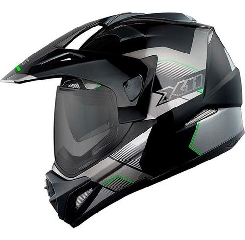 capacete x11 crossover x3-n sv preto/verde viseira solar nf