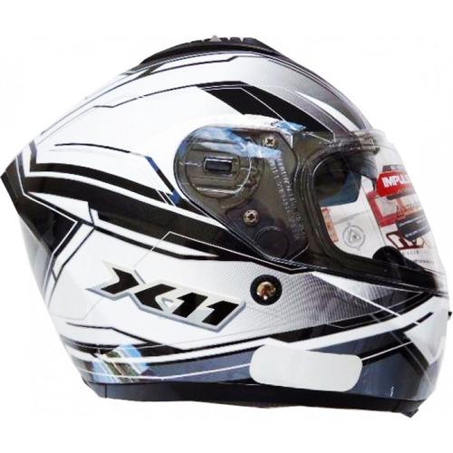 capacete x11 impulse branco/cinza com oculos solar