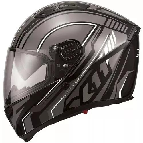 capacete x11 impulse wing preto/cinza com oculos + brinde