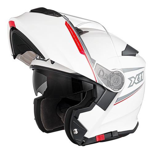 capacete x11 turner articulado branco c/óculos solar a vista