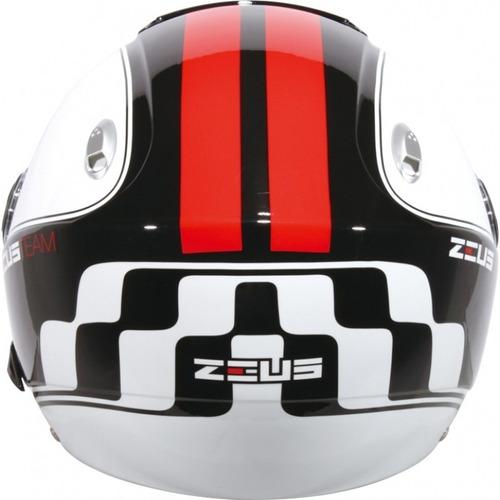 capacete zeus 202fb t42 solid blk/red xs  ***frete grátis***