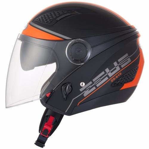 capacete zeus 610 new city matt preto laranja harley