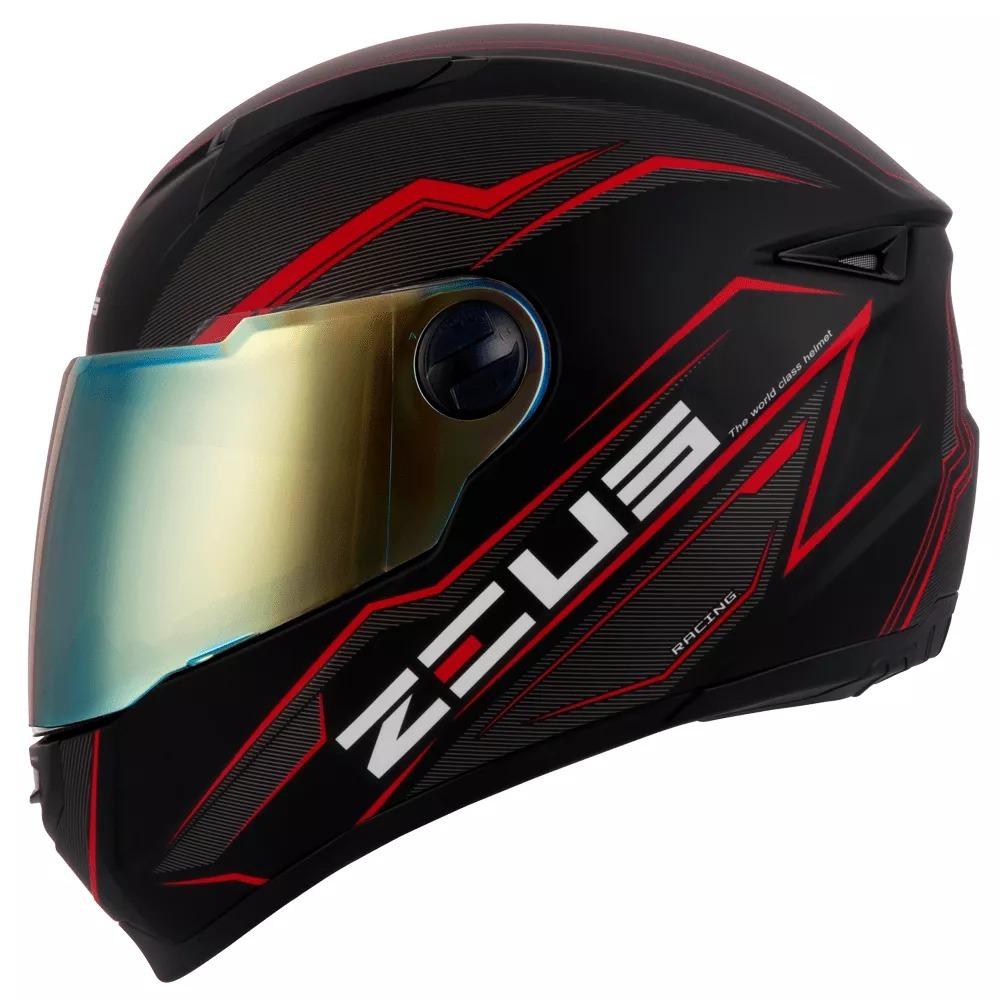 bc12822e47dfc Capacete Zeus 811 Solid Black Red Promoção Somos Loja! - R  474,90 em  Mercado Livre