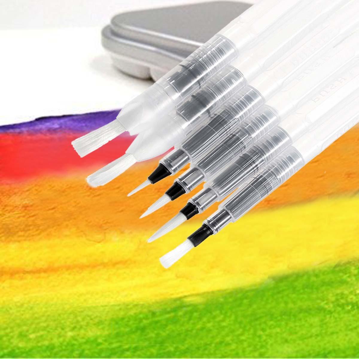 6X Recargable Color de agua suave Cepillo de Pintura Marcador Acuarela Dibujo Bolígrafo LS