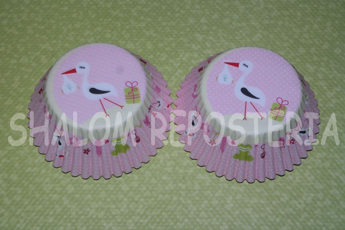 *capacillos Baby Shower Cigueña Niña Bebe Cupcake